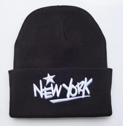 Wholesale Dropshipping Hats - Yjyb2b 2016 New Black NEW YORK Knit Beanie Hats for Men High Quality Women Winter Beanies Hat Ski Caps dropshipping