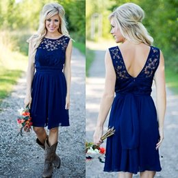 Wholesale Casual Tea Length Lace Dress - Country Style 2016 Newest Royal Blue Chiffon And Lace Short Western Bridesmaid Dresses For Weddings Cheap Backless Knee Length Casual