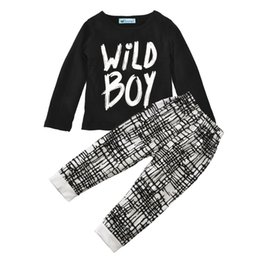 Wholesale Boys Shirts Fall Clothing - baby boy clothing sets sport long sleeve t shirt top+pants 2pcs baby boys clothes 2016 fall letter wild boy newborn clothing set christmas