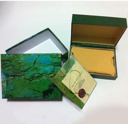 Wholesale Green Leather Watch Boxes - watches box green leather watches booklet card tags and papers in english