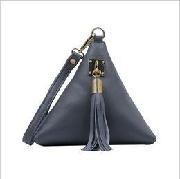 Wholesale Tas Pu Leather - Fashion Mini Tassel Clutch Black Leather Bag Designer Purse Famous Brand Women Fringe Handbag Evening Bags Bolsa Feminina tas