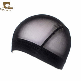 Wholesale Plain Mesh Caps - Cheap Unisex thick wide band Mesh Dome cap Wig stretchy Cap breathable perfect fit free shipping