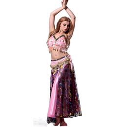 Wholesale Dance Show Costumes - New Arrival Belly Dance Costume Set Sexy Belly Dance Outfit Bra&Waist chain&Skirt Suit Showing Ballroom Dancewear