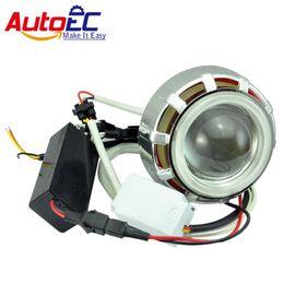 Wholesale Hid Projector Headlight Kits Motorcycles - AutoEC Led hid bi-xenon Motorcycle projector lens KIT Headlight headlamps 35w 2200lm double angel eyes light bulb 12v #MTL002