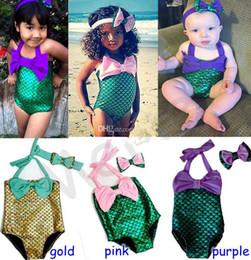 Wholesale Little Girls Pink Swimsuits - UPS FEDEX free 2016 KIDS Girls Little Mermaid swimwear Bikini Suit Swimming Costume Swimsuit with cute headband 2-7years 3colors SIZE 90-130