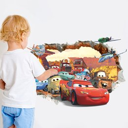 Wholesale Wholesale Children Wall Decor - Cartoon car child room decoration wall stickers for kids rooms boys girl nursery decor wallpaper for baby