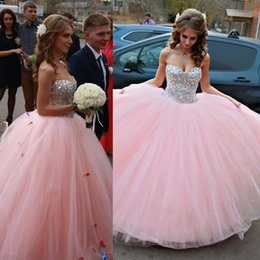 Wholesale Strapless Pageant Gown Purple - 2016 New Blush Pink Sparkle Quinceanera Dresses Backless Beaded Crystals Sweet 15 16 Dresses Sweetheart Ball Gown Tulle Prom Pageant Gowns