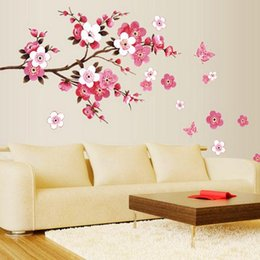 Wholesale Plastic Cherry Blossoms - BY DHL OR EMS 100PCS DU# Cherry Blossom Wall Poster Waterproof Background Wall Sticker for Living room Bedroom Cafe Home Decor