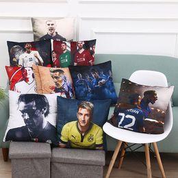 Wholesale velvet cushions wholesale - 45*45cm Double Sequin Velvet Football Pillow Case Personality Football Team Square Cushion Sofa Car Livingroom Bedroom Pillow Covers WX-P19