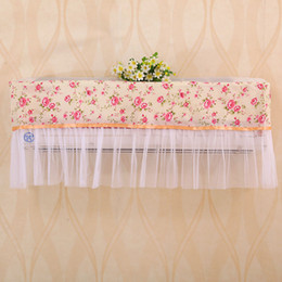 Wholesale Conditioner Covers - 100pcs Convenient Pastoral Style Flower Lace Cloth Dust Proof Cover Hang Air Conditioner Cover Cozy Home Decor ZA0749
