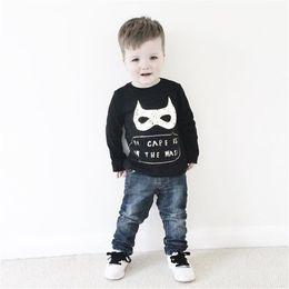 Wholesale Boys Batman Tops - 2016 Baby Fall Sweatshirts Kids Boys Batman Tops Clothes Children Black Cotton T Shirts Outfits 4 pcs Lot