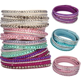 Wholesale Crystal Wrap Bracelets - Top Quality Fashion Multilayer Wrap Leather Bracelets Slake Deluxe Leather Charm Bangles With Sparkling Crystal Women Fine Jewelry Gift