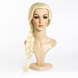 Wholesale Quality Wigs For Men - rincess cosplay New High quality Elsa Princess Cosplay Wig For Adult Children Kids Anime Halloween Play Wig Party Stage Costume Hair Ligh...