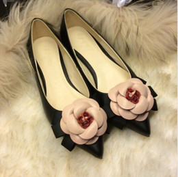 Wholesale White Lace Wedding Pumps - 2016 spring Sweet shoes brand style women camellia flowers mixed colors shallow mouth pointed toe flat shoes lady single shoe