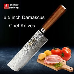 Wholesale meat cleavers - Sunlong 67layers Damascus steel kitchen knife pattern steel Slicing Knives Cleaver Melaleuca steel chef knife vegetable meat knife