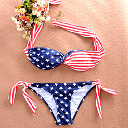 Wholesale Twisted Usa Bikini - Summer Fashion Lady Bikini USA Flag Design pattern bikinis Swimwear women Push Up Pads Twist Swimwear String Back