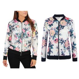 Wholesale Vintage Bomber Jacket Women - New Womens Ladies Chinese Stylish Floral Bomber Jacket Classic Retro Zip Up Biker Vintage Coat Casual Sports Jogger Outfits Outwear