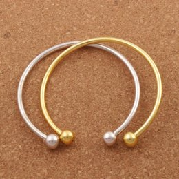 Wholesale Diy Bangle Silver Bracelets - Vogue SP Smooth Bangle New Silver Gold Plated Bracelet Fit European Charm Beads 19cm Jewelry DIY BB69