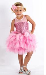 Wholesale Tutus Dress Pink - Ins New Summer Princess Girl Pink Sleeveless Tutu Dress + Handbands Baby Sequins Wedding Bridesmaids Party Dress Children Layered Cake Dress