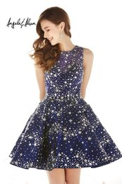 Wholesale Beading Star - Dazzling Dresses Beaded Star Homecoming Dresses Back Keyhole 2016 Line Backless Short Graduation Gowns Sequined Short Prom Dress For Juniors