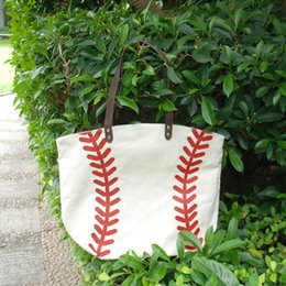 Wholesale Large Canvas Purse - Cotton Canvas Baseball Tote Wholesale Blanks Baseball purse with PU Handle and Magnetic Snap Closure Free Shipping DOM106281
