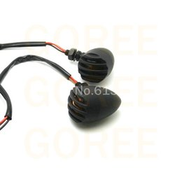 Wholesale Can Flasher - 2pieces * Motorcycle Turn Signal Lights led flashers indicator lights black outside color RED LIGHT(can choose yellow light)