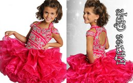 Wholesale Wavy Skirts - Cute Little Girl Cupcake Skirt Off Shoulder With Beads Collar Wavy Folds Wedding Party Toddler Pageant Dress