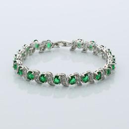 platin überzogene armband smaragde Rabatt Freies Verschiffen Charme Oval Platin Überzogene Grüne Armband Smaragd Tennis Armband frauen Gliederkette Armband 7