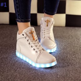 Wholesale Usb Champagne - Colorful glowing shoes high help diamond fluorescence luminous led lights usb charging couple sandals