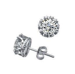 Wholesale Cheap Sterling Silver Crown - 925 sterling silver jewelry 18k white gold plated wholesale cheap crown earrings stud earrings unisex jewelry fashion classic jewelry 6mm