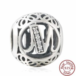 Wholesale Letter M Charm Sterling - NEW Authentic 925-Sterling-Silver Vintage Alphabet M Cubic Zirconia Letter M Openwork Charms with clear CZ Bead For DIY Eurpean Bracelets