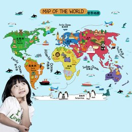 Wholesale large world poster - Cartoon Map of the World Wall Stickers Kids Room Nursery Wall Art Mural Poster Lettering Education Wall Decals Home DIY Decor Wallpaper Art