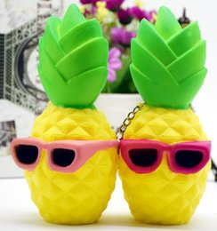 Wholesale Chain Sunglasses Wholesale - Squishy Pineapple 12cm Sunglasses 16cm Slow Rising Toys Relieve Stress Cake Sweet Fruit PU Cell Phone Strap Phone Pendant Key Chain Toy Gift