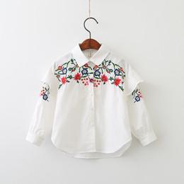 Wholesale Korean Fashion Shirts Blouses - Autumn 2017 Baby Girls Embroidery Floral Shirts Kids Girls Princess Flower Blouse Girls Korean Clothing