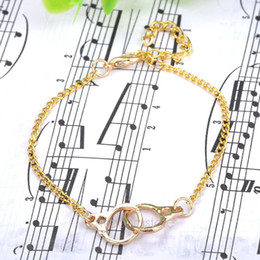 Wholesale Handcuff Leather Bracelet - Wholesale-2015 Women Hand Chain Chic Silver Gold Plated Handcuffs Bracelet Twin Knots Buckle Chain Silver and golden color FMPJ079#M1