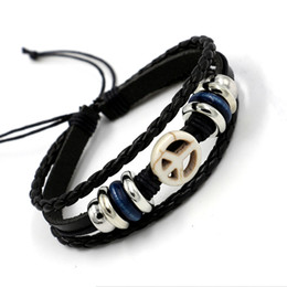 Wholesale War Slides - 2016 New peaceful anti-war signsleather bracelets for men women Fashion Drawstring Process Woven Charm Bracelet Jewelry gift