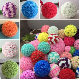 Wholesale Color Kissing Balls - 16 Color Artificial Flowers Rose Balls Kissing Ball Decorate Flower Wedding Party Garden Market Party Decoration Christmas Gift WX9-67