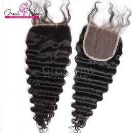 2020 großhandel natürliches haar hairpiece 100% malaysische tiefe Welle Top Frontal Verschluss frei Teil 4 * 4 Haarteile reines Menschenhaar natürliche Farbe färbbar auch Großhandel sehr beliebt günstig großhandel natürliches haar hairpiece