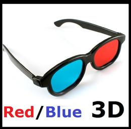 Wholesale Plasma Blue - Red Blue Plasma Plastic 3D Glasses TV Movie Dimensional Anaglyph Framed 3d Vision Glasses High Quality