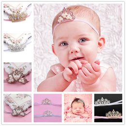 Wholesale Infant Tiara Headbands - Baby girls Crown headbands Children Shiny Rhinestone Pearl Tiara Hairbands Infants Kids Party Wear Hair Accessories Wedding headwear KHA94