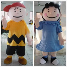 Wholesale Human Character Mascot Costumes - 2016 High quailty Hot sale!Wholesale-100% in-kind shooting cartoon character Charlie Brown mascot Lucy mascot adult human mascot costume