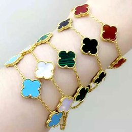 Wholesale Lucky Charm Bracelet For Women - 18K Gold Clover Charm Bracelet Top Quality 316L Titanium Steel Rose Gold agate five flowers lucky Bracelet for women Fashion link bracelets