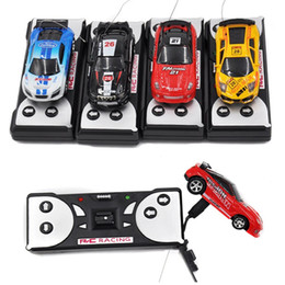 Wholesale Rc Car Led Lights - Mini RC Racing Car 1:64 Coke Can Car 4CH Radio Remote Control Vehicle LED Light Cars Toy for Kids Xmas Gift
