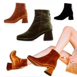 Wholesale Wedge Rings - Women Velvet Ankle Boots Black Green Brown Metal Ring Zipper Med Heels Shoes for Women Luxury Brand Design Boots Women