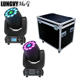 Wholesale Spot Moving Head Light White - Wholesale- Free Shipping 2pcs Lot Flight Case Packing 75W White Spot Professional Stage Light 9x12w RGBWA UV 6IN1 Wash Moving Head