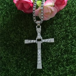 Wholesale Wholesale Fast Furious - The Fast and the Furious necklace Toledo Crystal Christian cross Pendant Necklaces Jesus charm movie jewelry for Christmas gift 160117