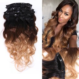 Wholesale Extension Hair Clip 27 - Choshim Slove Rosa T1B 4 27 Body Wave Clip In Hair Extensions 100% Brazilian Human Remy Hair 8 Pieces And 120g Set
