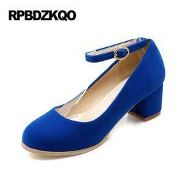 Wholesale Cheap Plus Size Shoes - Red Autumn 2017 Chunky Round Toe Pumps Plus Size Ankle Strap 11 43 Classic High Heels 4 34 Blue Suede Shoes Women Medium Cheap