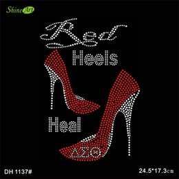 Wholesale Round Metal Stickers - Free shipping Red heels sticker designs iron on transfer hot fix rhinestone transfer motifs iron on transfers motif DIY DH1137#