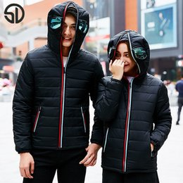 Wholesale m s glasses - Wholesale- Hot Winter Jacket Coat Thick Warm Clothes Lightweight Alien Youth Specials With Glasses Warm Zip Coat Hooded Coupleclothing